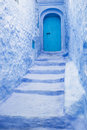 Blue door and entrance the beautiful colors of the medina of chefchaouen Stock Images