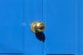 Blue door gates and doors in bray wicklow ireland Stock Photo