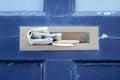 Blue door gates and doors in bray wicklow ireland Royalty Free Stock Images