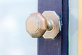 Blue door gates and doors in bray wicklow ireland Stock Photos