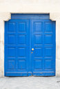 Blue door in the le marais district in paris france area of Royalty Free Stock Photo