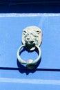 Blue door lion s head gates and doors in bray wicklow ireland Royalty Free Stock Images
