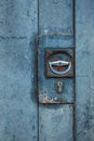 Blue door with lock closeup Royalty Free Stock Photo