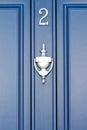 Blue door number gates and doors in bray wicklow ireland Royalty Free Stock Photos