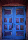Blue doors beautiful church in santa barbara california Royalty Free Stock Photo