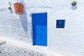 Blue doors of Santorini Stock Image