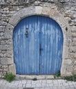 Blue double wing door with bell