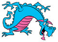 Blue dragon cartoon illustration Stock Photos