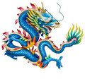 Blue dragon isolated on white Royalty Free Stock Photo