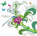 Blue dragonfly on floral background Royalty Free Stock Photo