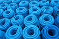 Blue drainage pipes Royalty Free Stock Photos