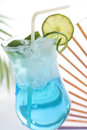 Blue drink cocktail with ice and lemon Stock Photo