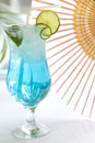 Blue drink cocktail with ice and lemon Royalty Free Stock Photo