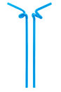 Blue drinking straw isolated Royalty Free Stock Photo