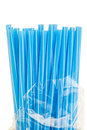 Blue drinking straws Royalty Free Stock Photo