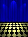Blue drop scene illustration of curtain call and floor Stock Image