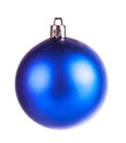 Blue dull christmas ball on white background Stock Image