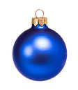 Blue dull christmas ball on white background Stock Images