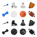 Blue dumbbell, white soccer ball, basketball, rugby ball. Sport set collection icons in black,cartoon style vector