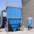 Blue dust collector with air tank Royalty Free Stock Photo