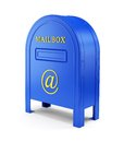 Blue e mail postbox chatting internet and communication concept with at sign on white Royalty Free Stock Image