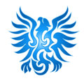 Blue eagle flame emblem in shape of flying on white background Stock Photos