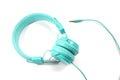 Blue earphone Royalty Free Stock Photo