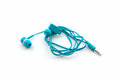 Blue earphones. Stock Photography