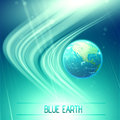 Blue earth abstract background with s globe on a bright surface Royalty Free Stock Images