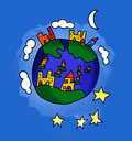Blue earth by a child illustration of the seen from point of view Stock Photography