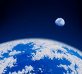 Blue earth in space Royalty Free Stock Images