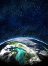 Blue earth in space Royalty Free Stock Photo