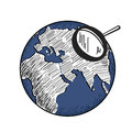 Blue earth with white continents world map and magnifying glass. Hand drawn illustration Royalty Free Stock Photo