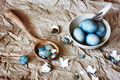 Blue easter eggs in a white plate rustic style with feathers unusual version painted with hibiscus Stock Photo