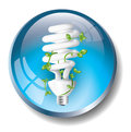 Blue eco badge with fluorescent lightbulb Stock Images