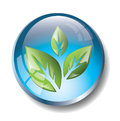 Blue eco badge with green leaves Royalty Free Stock Photo