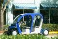 Blue electric car Stock Photos