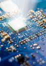 Blue electronic circuit Royalty Free Stock Photo