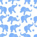 Blue elephant seamless lovely repetitive tile with foot mark drawing on white background Stock Photo