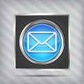 Blue email button icon mettalic background Stock Photography