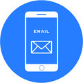 Blue email design in a flat round button