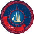 Blue emblem with sailboat, compass and ribbon