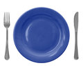 Blue empty plate with fork and knife Royalty Free Stock Photo