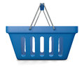Blue empty shop basket d illustration of isolated on white Stock Images