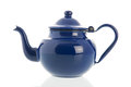 Blue ename tea pot retro isolated over white background Stock Image