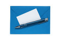 Blue envelope with pen and blank note card on white background Royalty Free Stock Photo