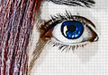 Blue eye and red hair Stock Images