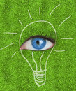 Blue eye surrounded by a drawing of a light bulb on grass texture Stock Photo
