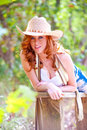 Blue eyed cowgirl Royalty Free Stock Photo
