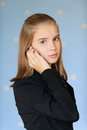 Blue-eyed girl-teenager talking on Stock Photo